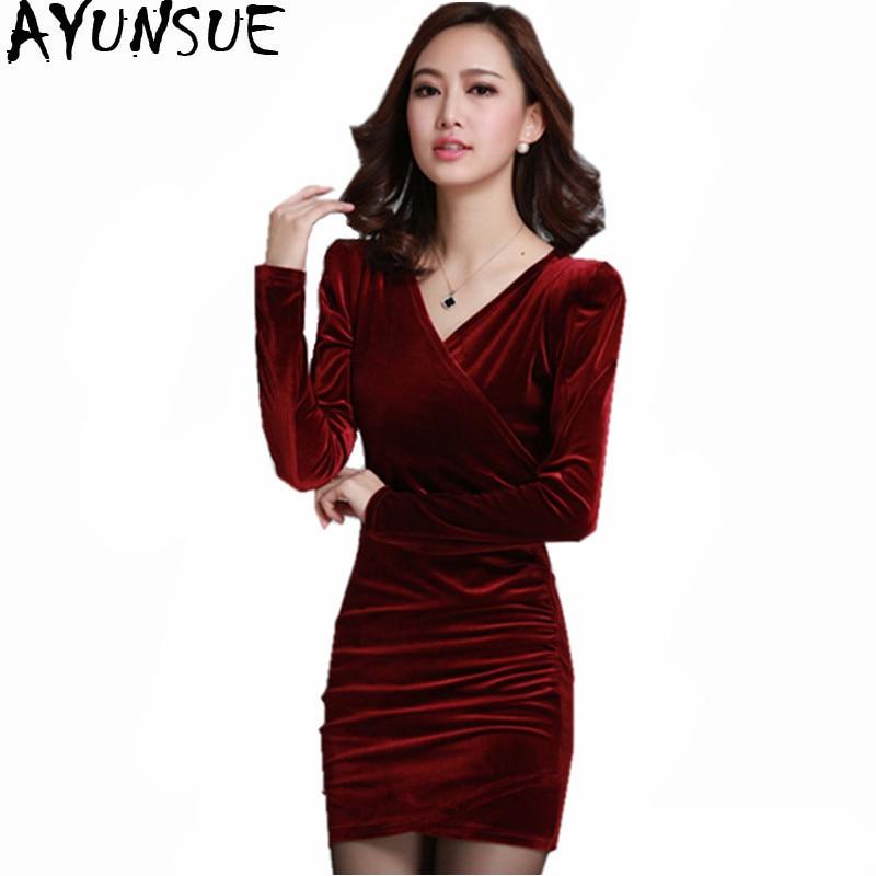 AYUNSUE Red Sheath Velvet Dress Women Winter Party Dresses Long Sleeve 2018  Elegant Pencil Ladies Bodycon 6e700754537a