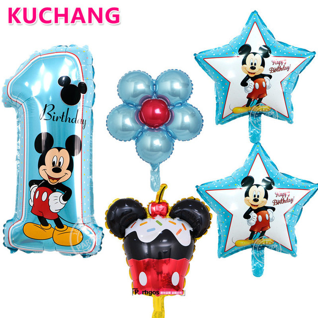 5pcs Lot Pink Blue Mickey Minnie Number 1 Cake Flower Foil Balloons