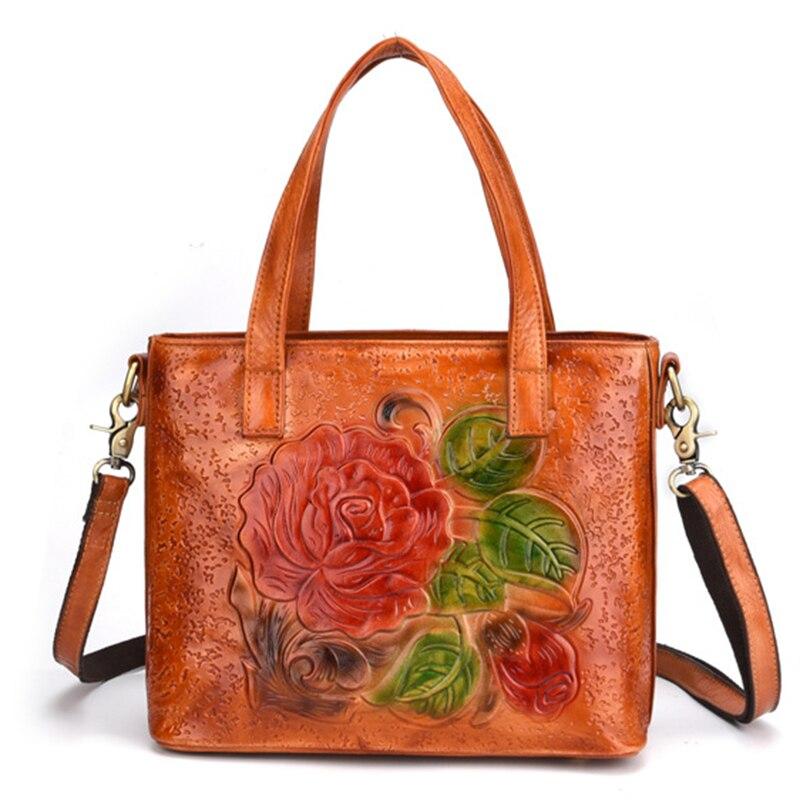 Genuine Embossed Leather Top Handle Bag Cowhide Tote Purse Handbag Large Capacity Women Shoulder Cross Body