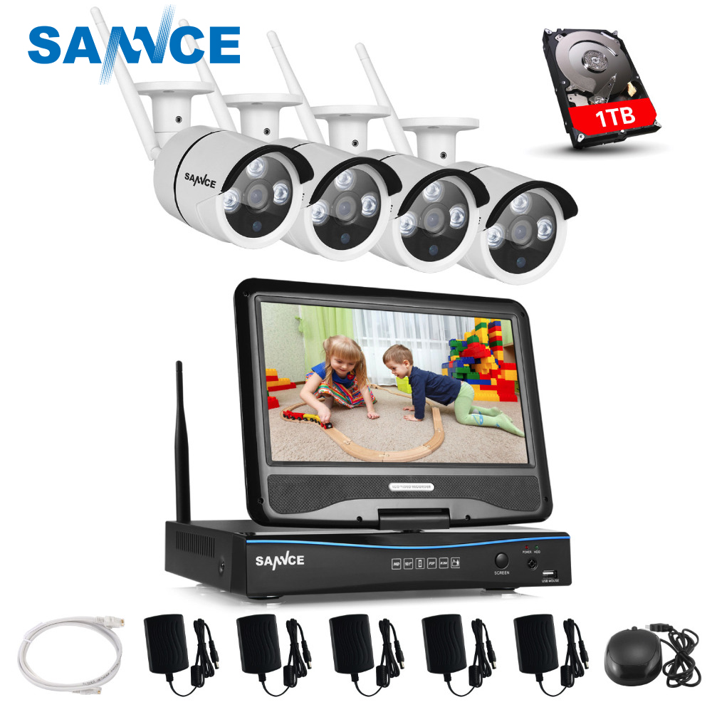 цена на SANNCE 10.1inch LCD 4CH HD 720P Wireless NVR Wifi 1500TVL In/Outdoor IR CUT ip cameras Home Security Camera System with 1TB HDD