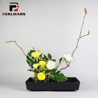 Japanese Ikebana Teaching Flowerpot Pure Color Rectangle Plastic Flower Pot Vase Hydroponics Plant Bonsai Planters Home Decor