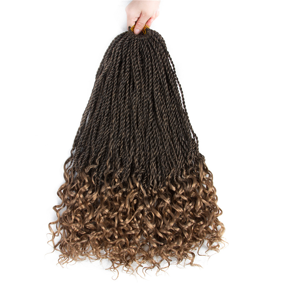 Aigemei 18Inch Curly Senegalese Twist Synthetic Braiding Extensions Fiber Crochet Braids