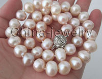 Selling Jewelry>>17 10 11mm natural pink freshwater pearl necklace GP clasp
