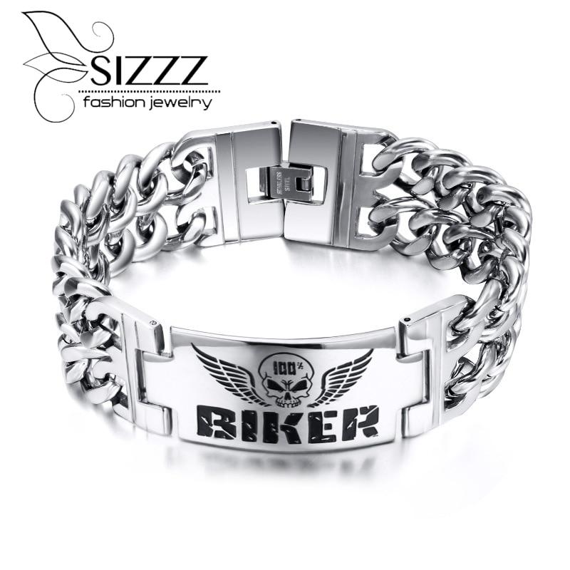 fe9f9422f7aab Moda de acero inoxidable Pulseras y brazaletes vintage atractivo hombres  joyería personalizada identificación hombre pulsera encanto