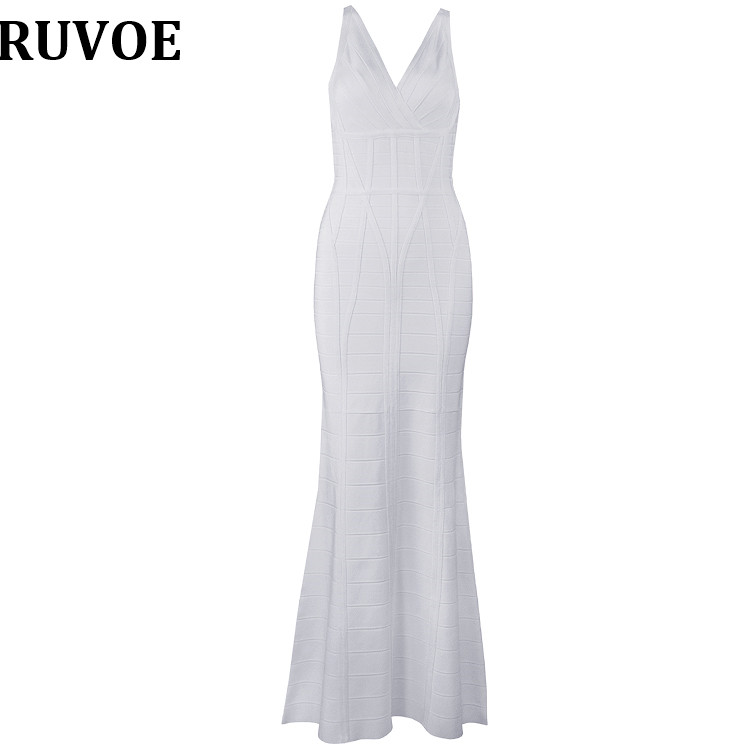 New Arrival Women Bodycon Dress 2018 Summer Sexy Bandage Party Dress Vestidos V-neck High Quality White Long Maxi Bandage Dress