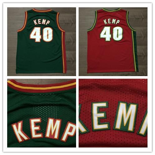 official photos 1197a fe03d Cheap Seattle #40 Shawn Kemp Red Green Basketball Jersey,Rev ...