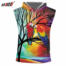 UJWI Summer Man New 3D Printed Red Parrot Harajuku Large Size 5XL Mens Hooded Tank Top