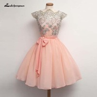 Pink Chiffon Cocktail Dresses Cap Sleeves Short Party Dress With Appliques Cocktail Dresses Party Gowns For Graduation