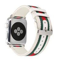 38 42mm Woven Canvas Casual Sports Watch Band Iwatch Strap Genuine Leather Watch Belt For Apple