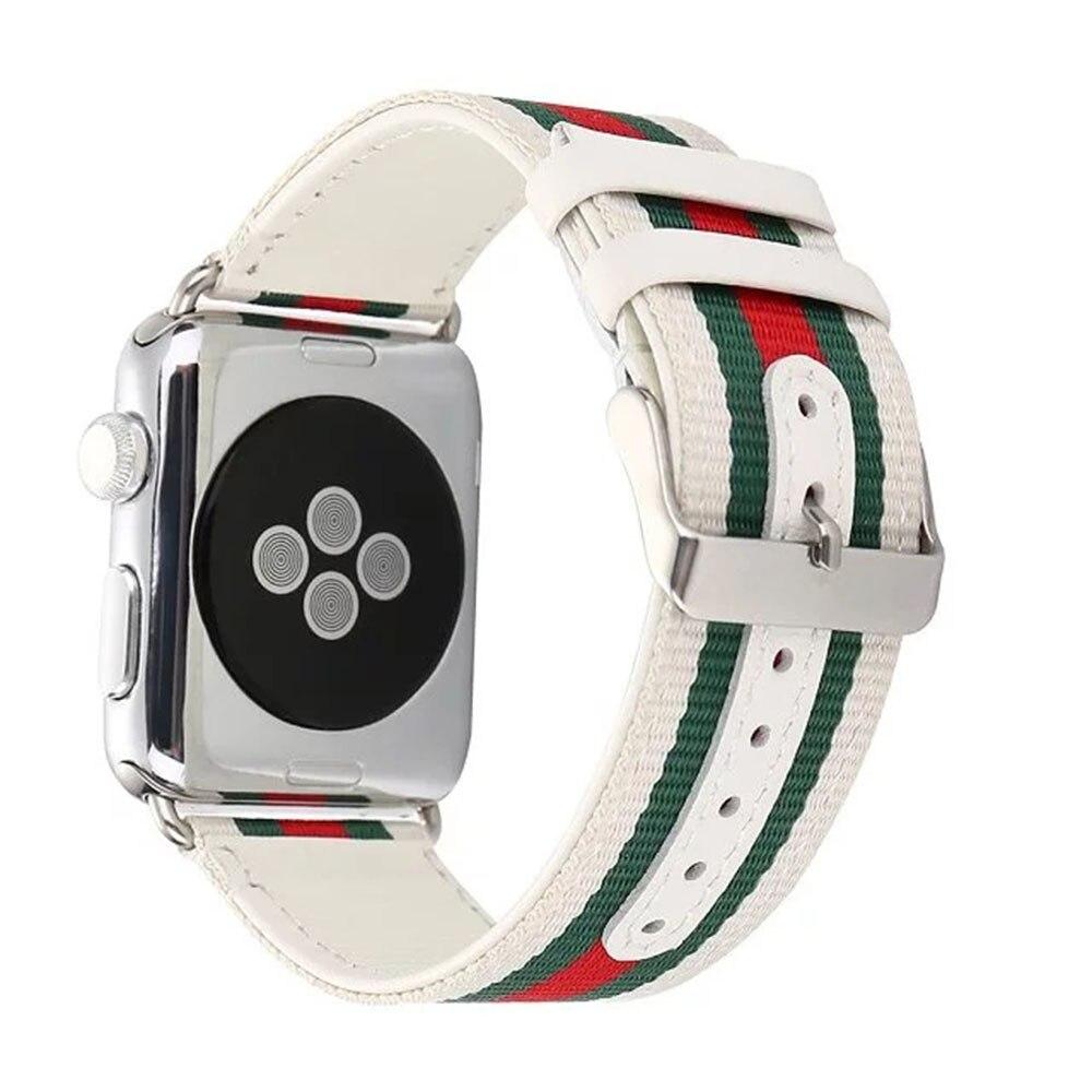 Rayé Nylon + Montre En Cuir de Courroie De Bande pour Apple Montre 38 42mm  Montre ceinture Bracelet pour iwatch Série 1 2 3 Noir Blanc I37. 5715f1edd0a