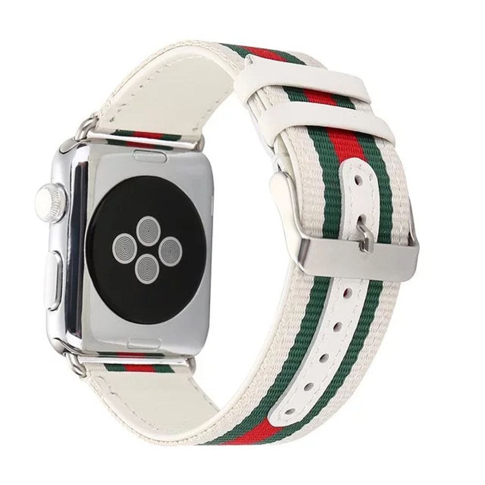 Striped Nylon+Leather Watch Band Strap for Apple Watch 38/42mm Watch Belt Bracelet for iwatch Series 1 2 3 Black White I37.