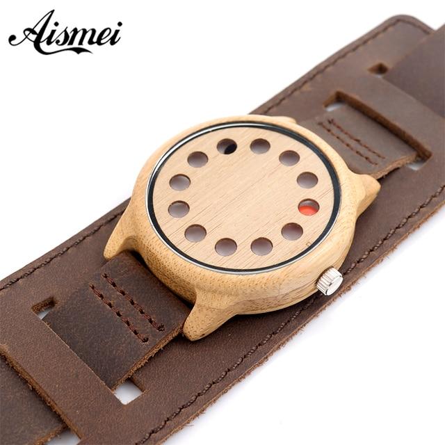 Zegarek drewniany Aismei styl punkowy