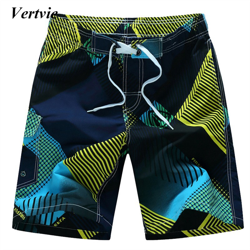 Vertvie Cool Beach Style Male Swimming Shorts Patchwork Drawstring Short Pants Quick Dry Surfing Male Shorts Hit Sports Shorts