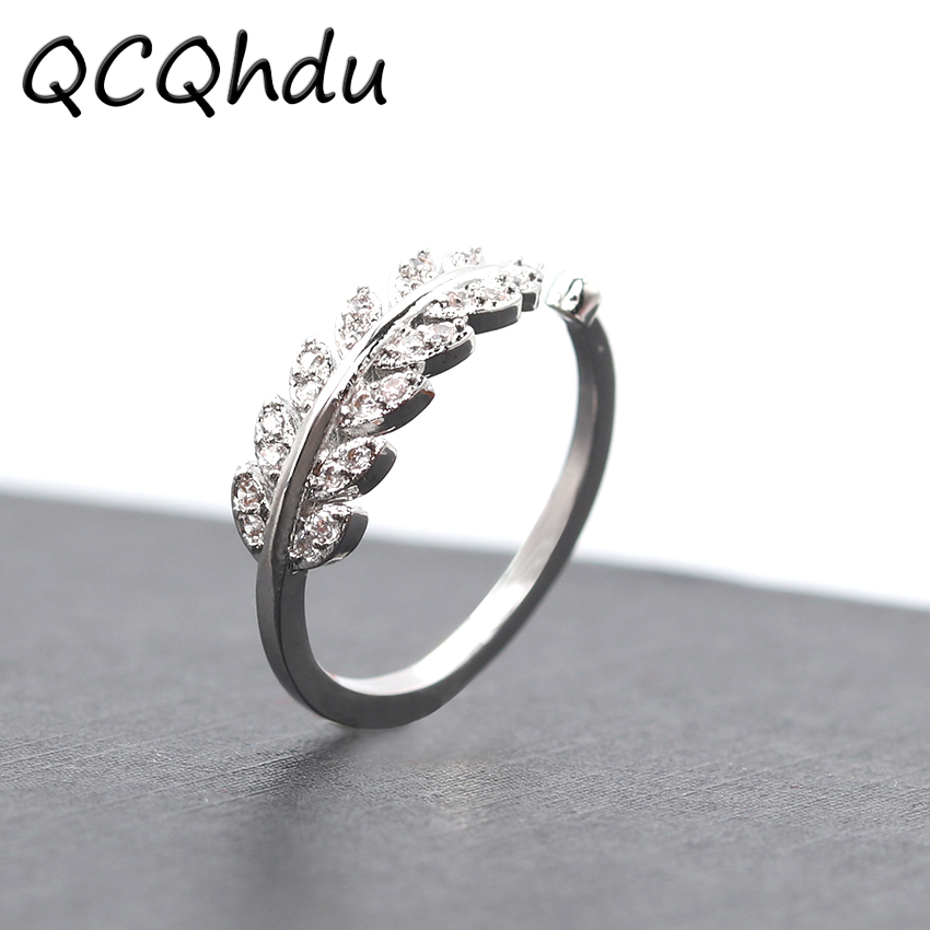 9bdbd8ef86 1PC New Arrival Silver Plated Rings for Women Girl Jewelry Crystal Stone  Leaf Rings Adjustable Ring-in Engagement Rings from Jewelry & Accessories  on ...