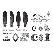 Hot Black Feather Wings Tattoo Stickers English Alphabet Moon Pattern Waterproof Temporary Tatoo Body Art
