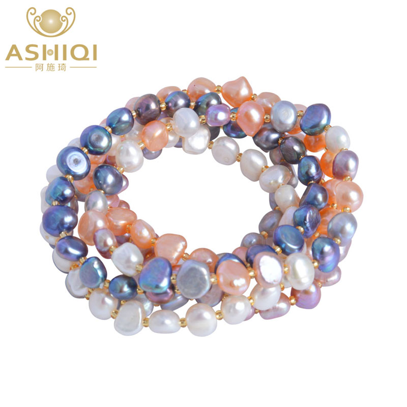 ASHIQI Freshwater Pearl bracelets for women Multi Color Baroque Pearl Crystal Beaded Bracelets & Bangles FI jewelry gift pearl beaded flounce skirt