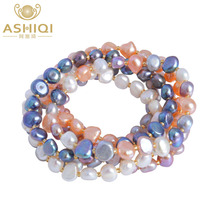 ASHIQI Real Natural Freshwater Baroque Pearl Bracelets & Bangles For Women Crystal Beads Jewelry Gift(China)