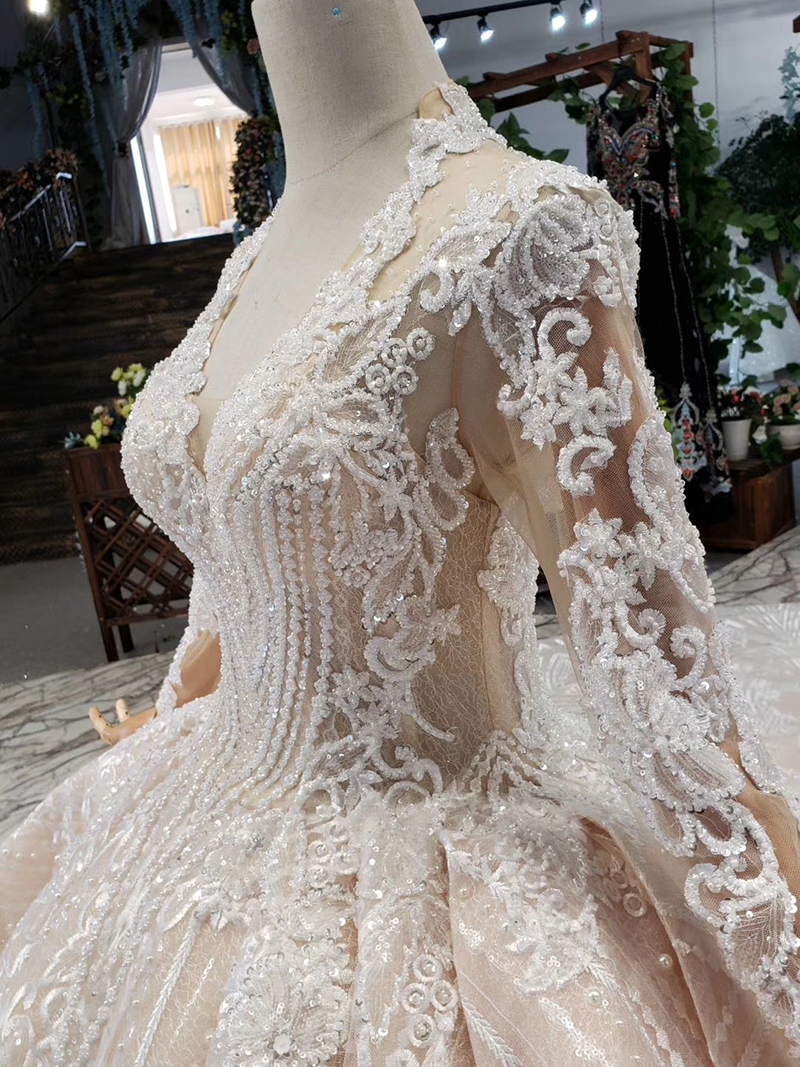 HTL433 long sleeves lace wedding dresses with train v-neck open back puffy ruffle wedding gowns heavy handwork robe de mariee (6)