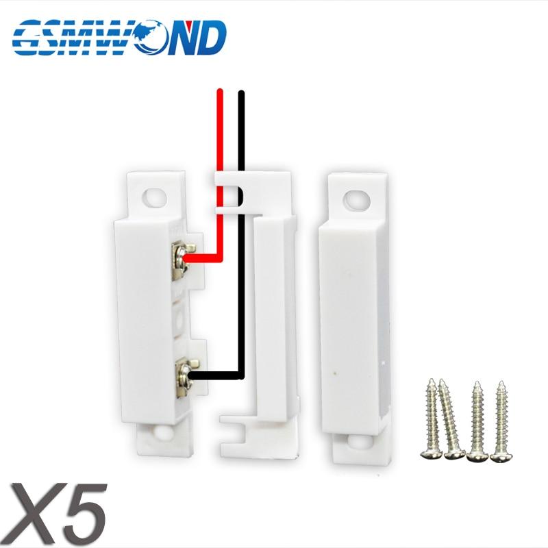 Wired Door Sensor Window Open Detector Magnetic Switch Normal Closed For Home Burglar GSM PSTN Alarm System