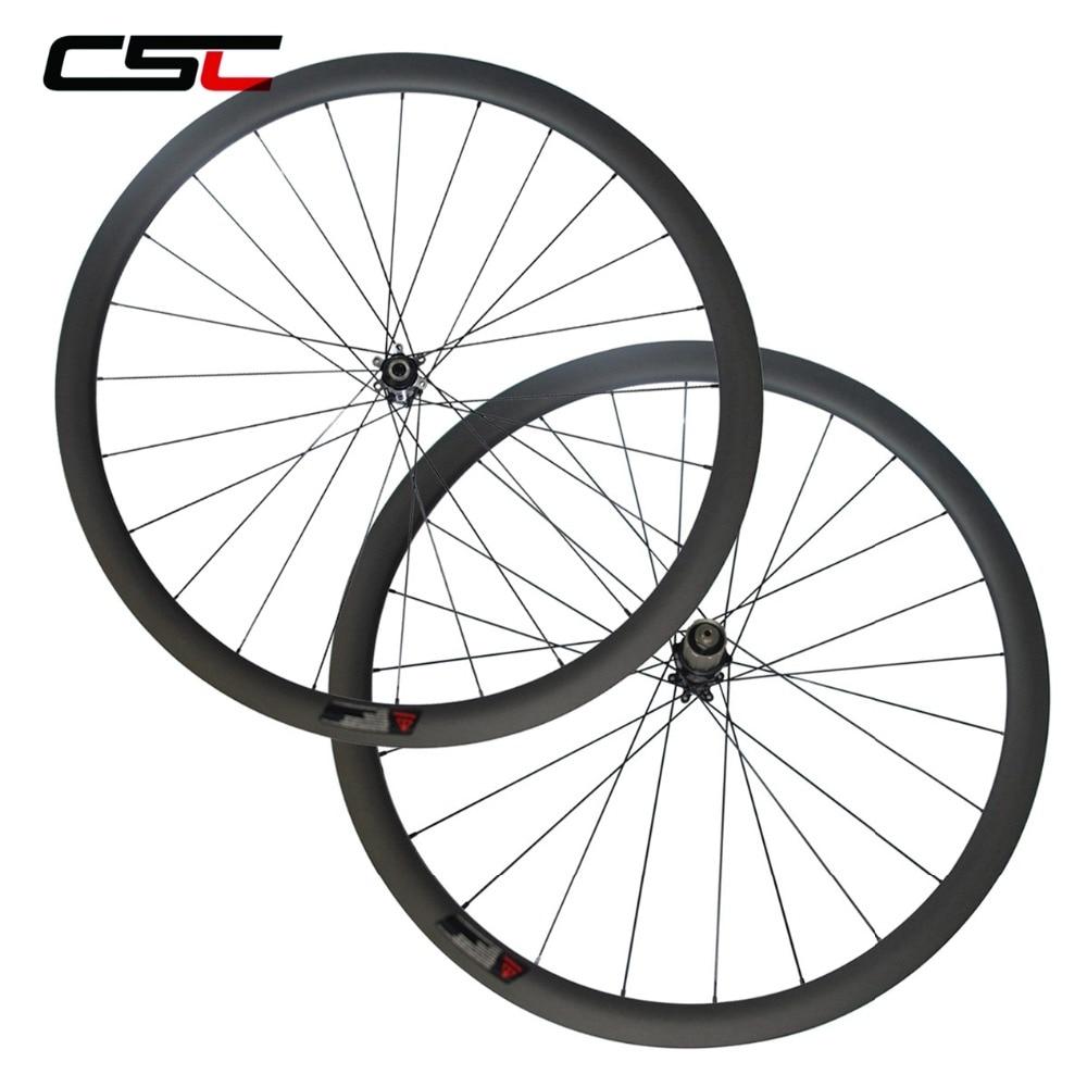 700c Carbon Disc Wheelset U Shape Clincher Tubeless Cyclocross Carbon Wheelset Novatec Straight Pull Hub No Brake Track 6 Bolts