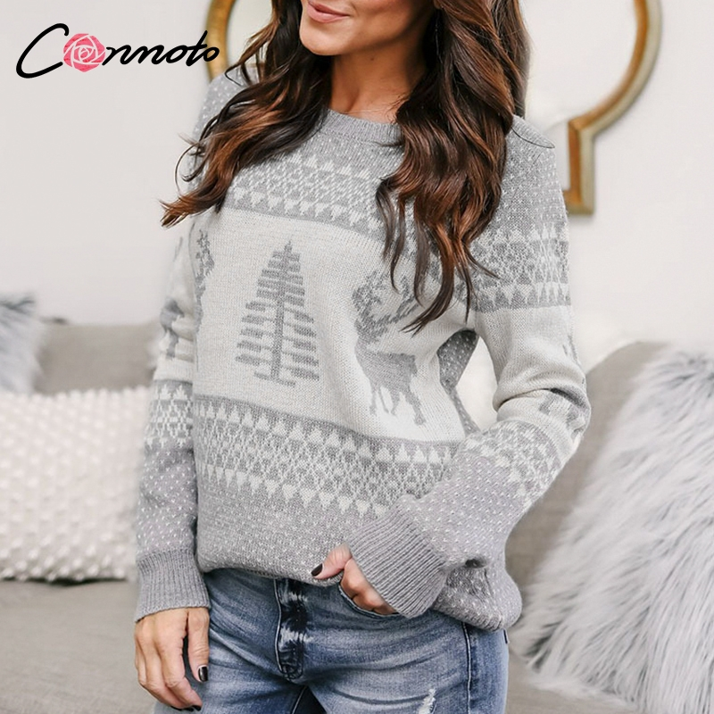 Conmoto Casual Ugly Christmas Sweater Women Knitted Pullovers Feminino Sweaters Party Winter Red Knitted Jumpers