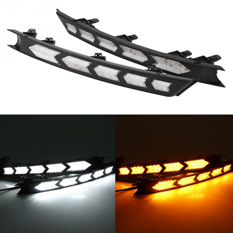 For Mazda CX-5 2017 New 1 Pair Car Daytime Running Light Turn Signal Dual Model DRL LED Lights White and Yellow