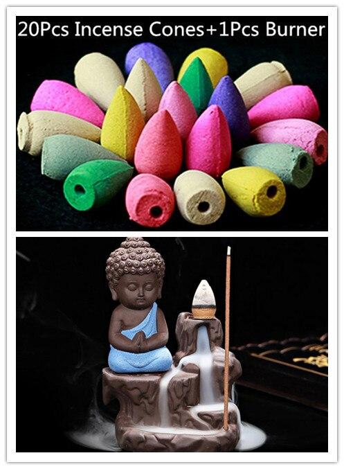 20 Unid conos de incienso + quemador Creative Decoración para el hogar el pequeño monje Pequeño Buda censer backflow quemador de incienso uso en el hogar casa de Té