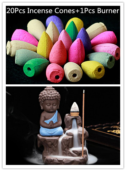20Pc Incense Cones + Burner Creative Home Decor The Little Monk Small Buddha Censer Backflow Incense Burner Use In Home Teahouse