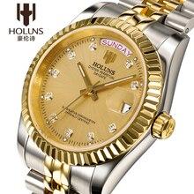 2498d3febdc Holuns Ouro Diamante Mecânico Automático Mens Relógios Top Marca de Luxo  Relógio Dos Homens de Negócios