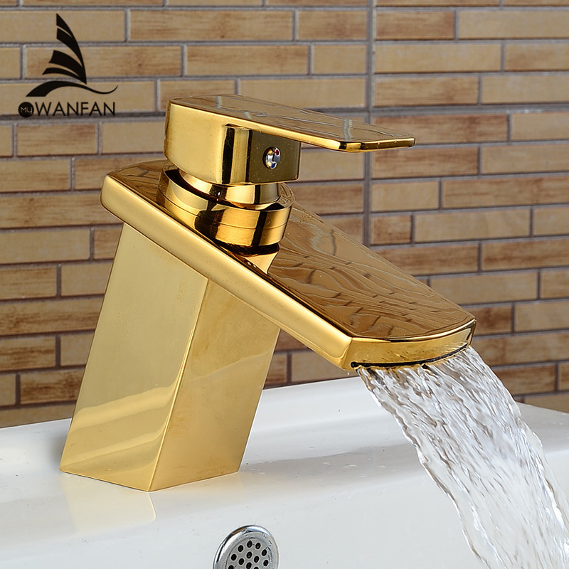 Basin Faucets Waterfall Deck Mounted Crane For Water Washbasin Gold-plating Chrome Hot and Cold Mixer Bathroom Sink Tap LH-16856 luxury waterfall gold crane tall bathroom sink faucet jade body hot and cold water mixer tap copper basin sink faucets