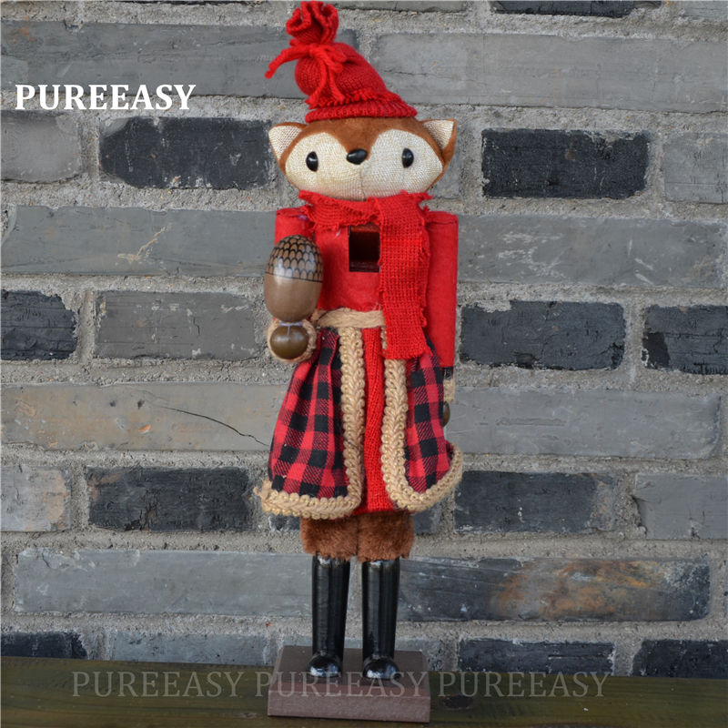 38cm Europe Style Christmas Home Decoration Wood Fox Nutcrackers Collection Nutcrackers Puppet Sculpture Crafts Christmas Gift