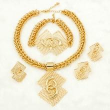 Liffly Turkish Fashion Bridal Jewelry Sets for Women African Wedding Big Necklace Bracelet Dubai Gold Set