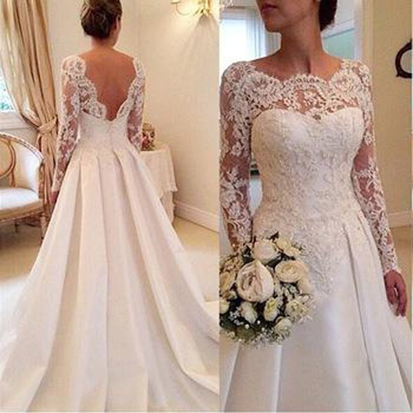 Long Sleeve Lace Wedding Dresses with Sheer Scoop Neck A Line Court Train Skirt Church Bohemian