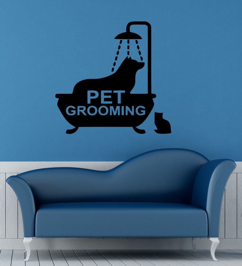 online get cheap pet wall sticker aliexpress com alibaba group pet grooming vinyl wall decal animal dog in bath pet groomin sign mural art wall sticker pet salon pet shop room decoration