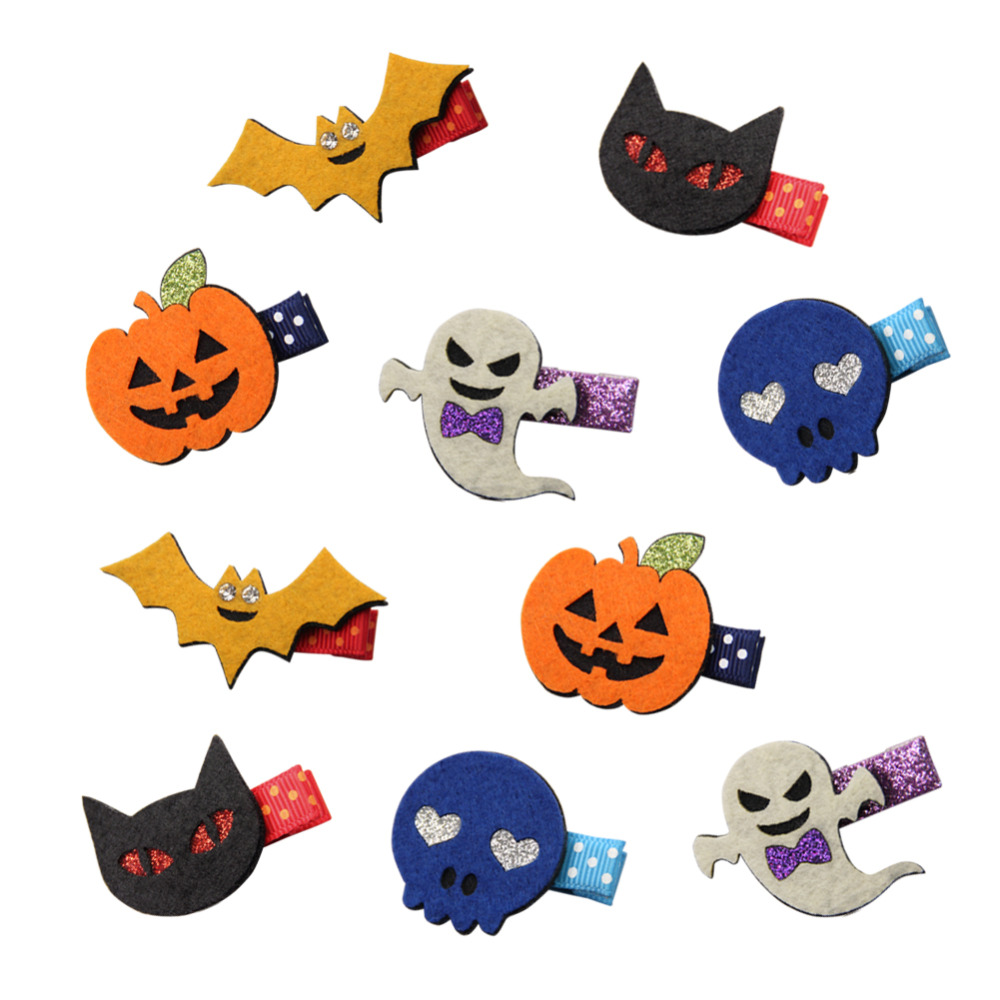 10Pcs/lot Halloween Pumpkin Hair Clip Girls Hair Accessories Hairclips Hairpins Fashion Women Headwear Barrettes Party Supplies halloween party zombie skull skeleton hand bone claw hairpin punk hair clip for women girl hair accessories headwear 1 pcs