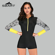 Sbart Geometric Print Rash Guard Women Deep Zipper Sport One Piece Swimsuit Long Sleeve Surfing Suit New Boyleg Swimwear 2019