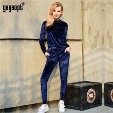 Gagaopt Women Tracksuit Velvet 3 Shining Colors Warm Winter Set 2 pcs ( Long Sleeve Top+Drawstring Pants) Sudaderas Feminino