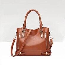 где купить Women Leather Handbags Crossbody Brown Shoulder Bag Sac A Main Ladies Messenger Bag Large Capacity Female Casual Handbags Tote по лучшей цене