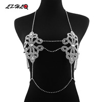 LZHLQ Maxi Chest Chain For Women Trendy Geometric Hollow Metal Multilayer Rhinestone Body Chains 2017 Fashion Brand Body Jewelry