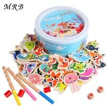 Logwood 60 шт. набор деревянных магнитных рыболовных игрушек, игра для детей, 3 удочки, 3D рыбки, детские развивающие игрушки, уличные забавные детские игрушки