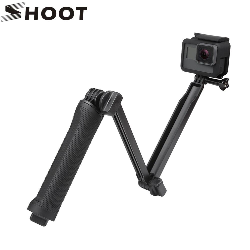 SHOOT impermeable 3 manera trípode para GoPro cámara Hero 6 5 4 sesión SJCAM Xiaomi Yi 4 K lite h9 Monopod para Go Pro montaje