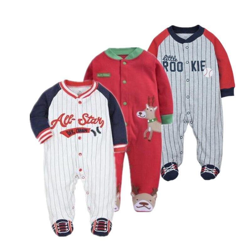 Roupa do bebê do natal 100% algodão macacão pijamas bebê longo sleeved macacão esporte roupas de beisebol do bebê juimpsuit 0-12m roupas