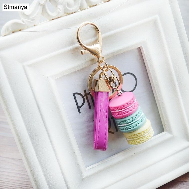 Fashion Tassel Key Chain New Car Keychain Bag Charm Accessories Car Key Ring Macaron Cake Phone Best Gift Jewelry K1276