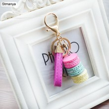 Fashion Tassel Key Chain New Car keychain Bag Charm Accessories Car key Ring Macaron Cake Phone Best Gift jewelry K1276(China)