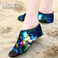 FORUDESIGNS Non Slip Beach Shoes Galaxy Printing Rubber Swimming Shoes 3mm Water Sports Surfing Socks Snorkeling