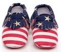 2016 Nuevo bebé rayas bandera Americana niña niño suela blanda zapatos de lona Del Bebé Mocasines niños Primeros Caminante antideslizante toddlers zapatos