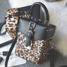 Leopard Mini Cube Crossbody Bags