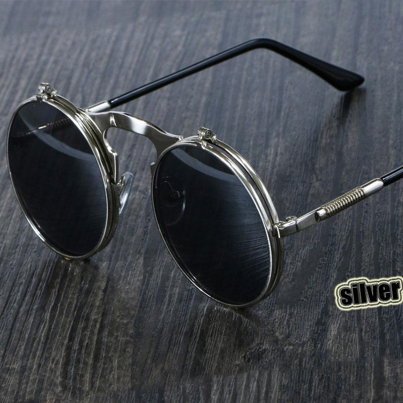 CCspace Steampunk Sunglasses Round OCULOS De Sol Women Style Retro Flip Circular