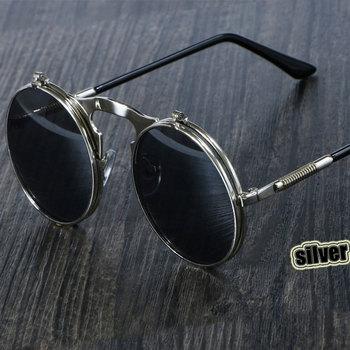 3057 Steampunk okulary okrągłe metalowe kobiety styl Retro odwróć okrągłe podwójne metalowe okulary przeciwsłoneczne mężczyźni koło okulary tanie i dobre opinie CCspace Okrągły Dla dorosłych Stop UV400 50mm Poliwęglan SU090-3057 Round Punk Sunglass zonnenbrillen gafas de sol redondas