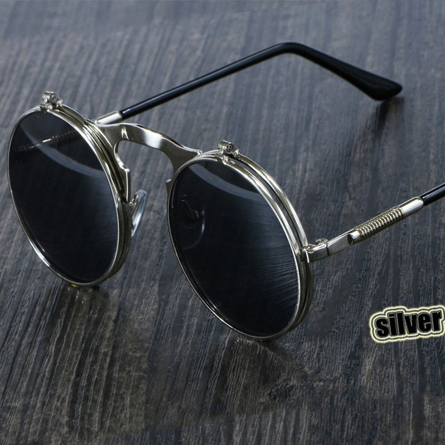 Steampunk  Round Metal  Retro Flip Circular Double Metal Sun Glasses